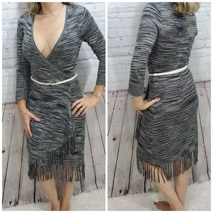 Max and cleo low v fringe  faux wrap knit dress